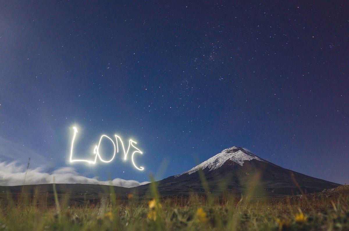 Photo at the Cotopaxi Volcano in Ecuador - Love Light sign