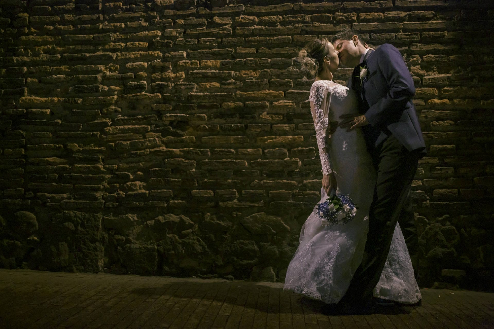 Us kissing on the streets of our beloved Bogota on our wedding day