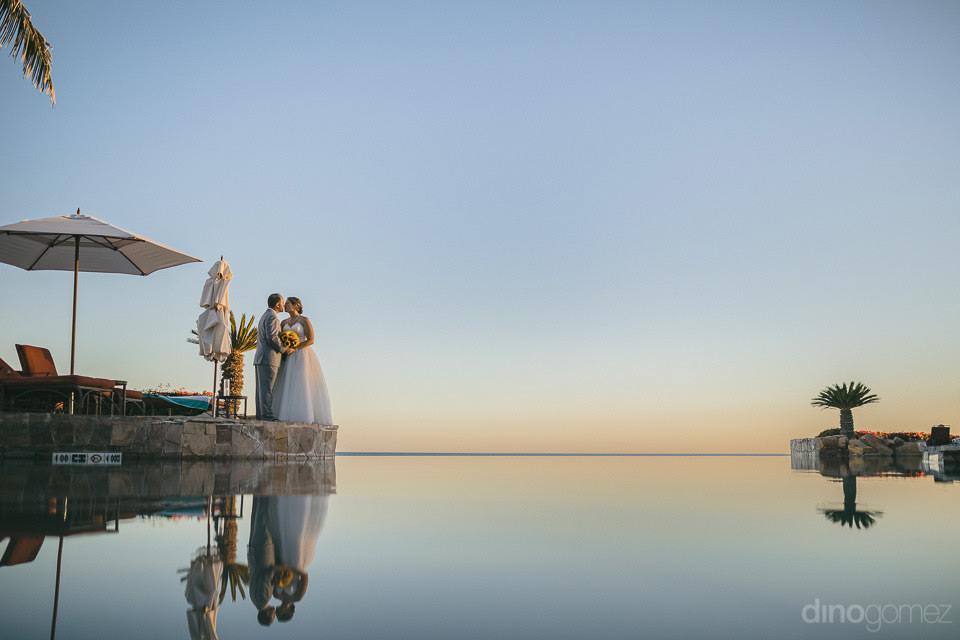 Bride & groom's reflection on the water - Jo & KC's Wedding in Cabo - Jo & KC's Wedding in Cabo
