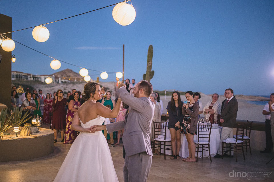 Couple's first dance at sunset - Jo & KC's Wedding in Cabo