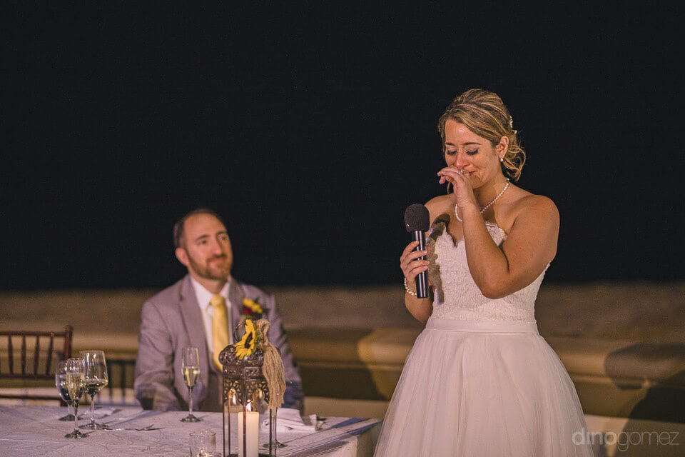 emotional moment of the bride's speech - Jo & KC's Wedding in Cabo - Jo & KC's Wedding in Cabo
