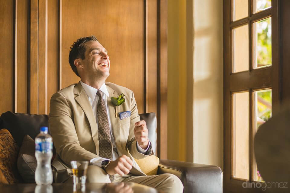 Groom laughing besides my window - Chiara & Jeremee