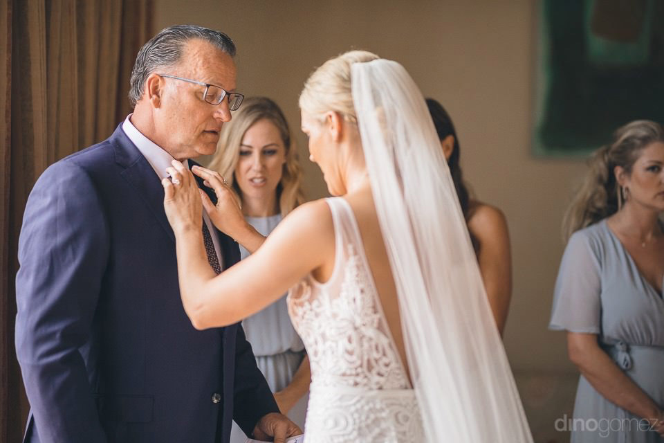 Bride Touching Up Her Father'S Tie - Megan & Andrew'S Wedding