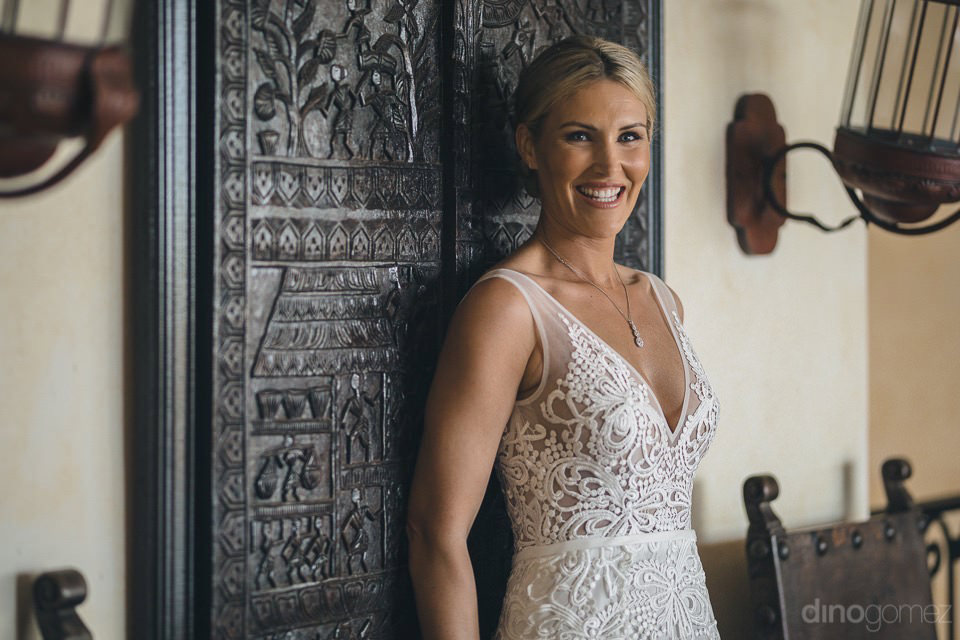 Bride and wooden door - Megan & Andrew's Wedding