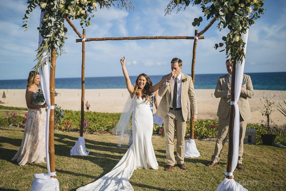 Bride and groom celebrating - Chiara & Jeremee