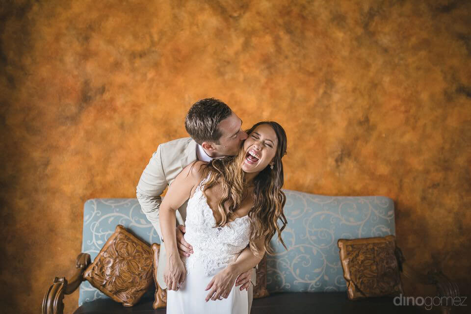 playful photo of the bride and groom - Chiara & Jeremee