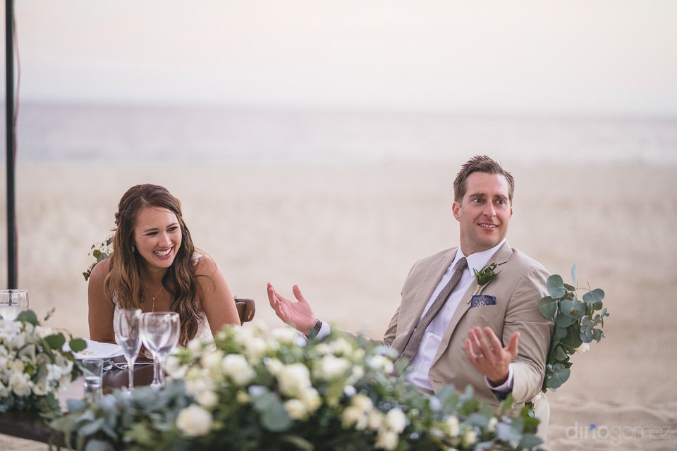 fun expression of the groom during a toast - Chiara & Jeremee