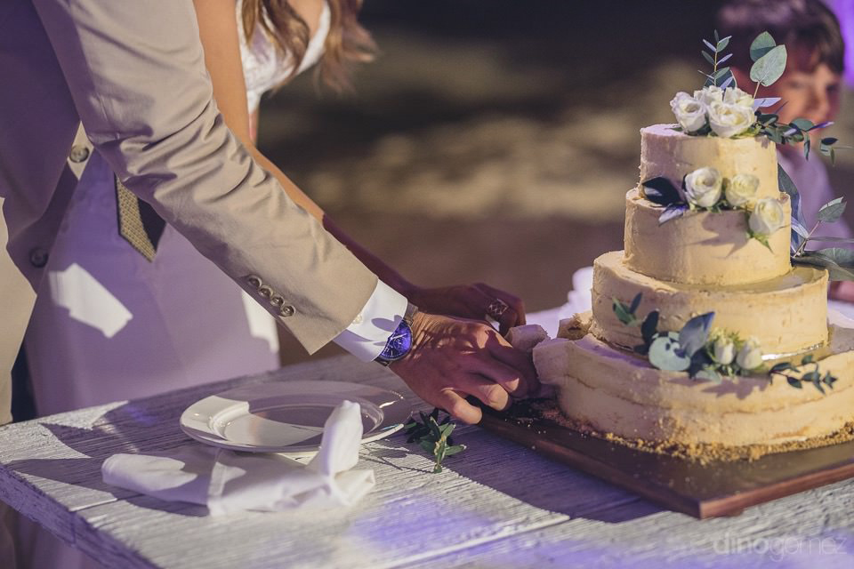 cutting of the cake at dinner - Chiara & Jeremee