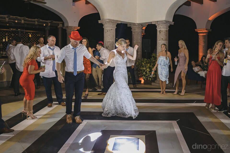 Newlyweds dancing on the dance floor - Megan & Andrew's Wedding