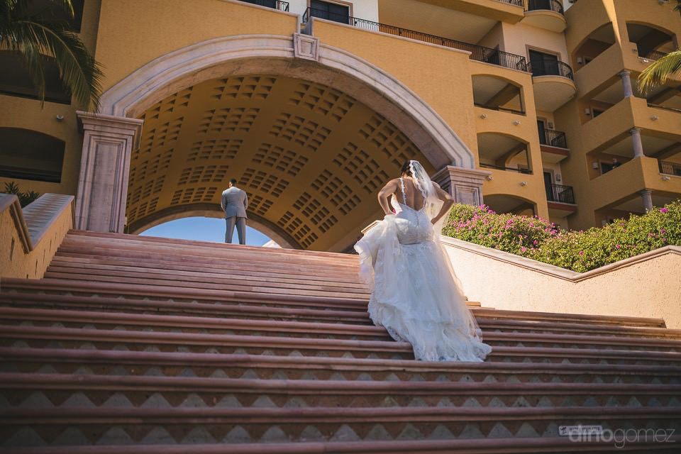 Bride Walking For The First Look - Kimber & Julius' Warmsley Wedding