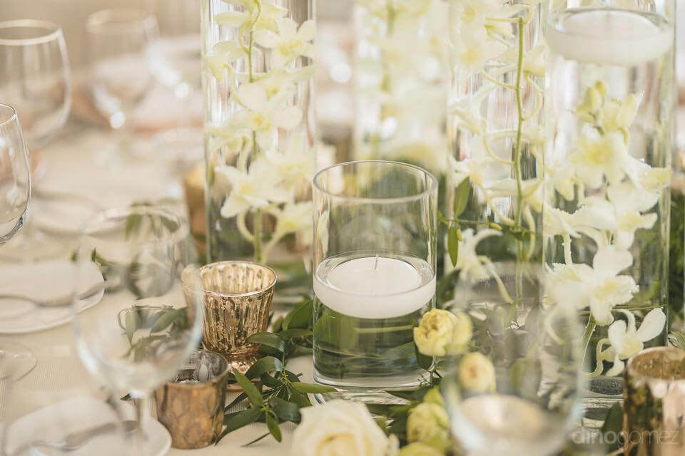 Pretty white flowers table - Kimber & Julius' Warmsley Wedding