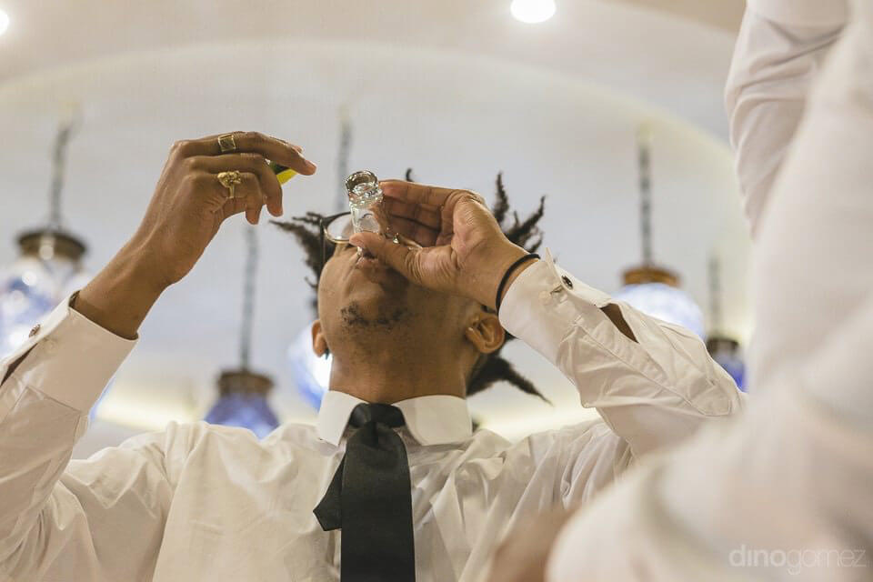 The Best Man Drinking Tequila Shots - Kimber & Julius' Warmsley Wedding