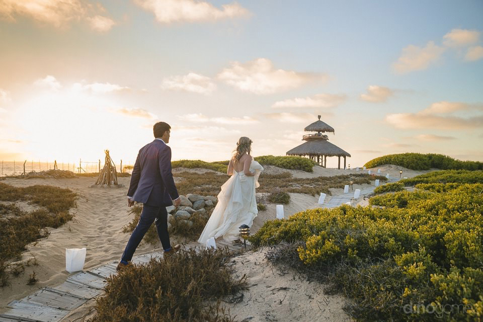 couple walking to the sunset - Rachel & Destin