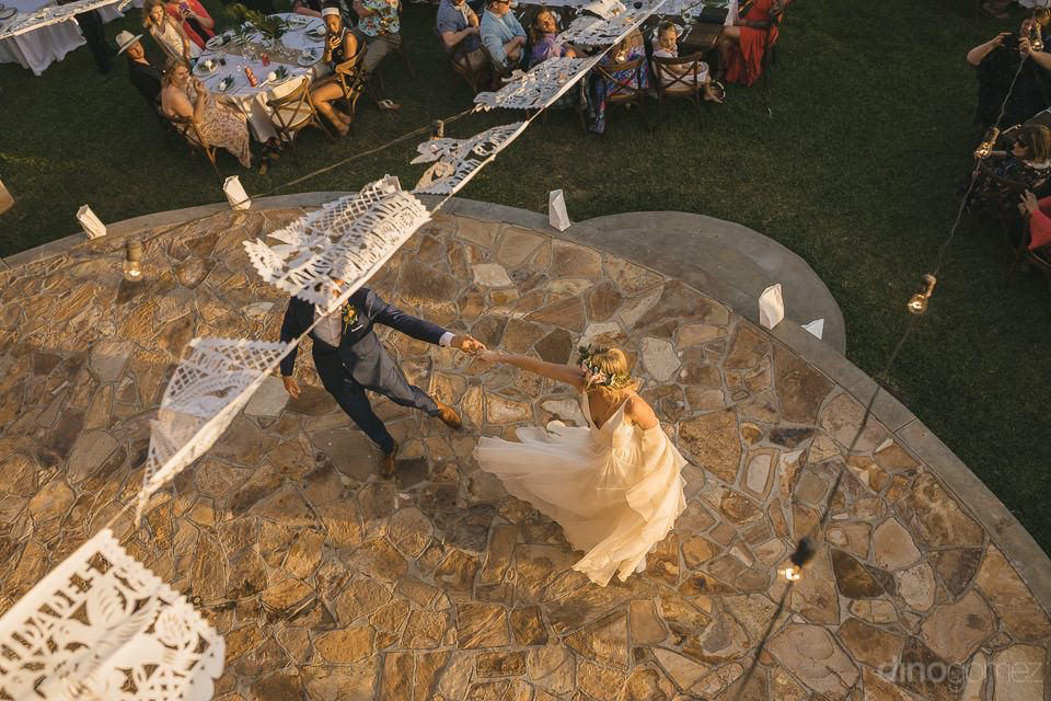 high angle photo of the first dance - Rachel & Destin