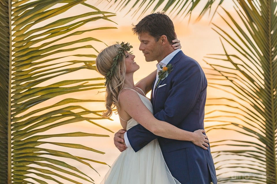 palm leaves and newlyweds - Rachel & Destin