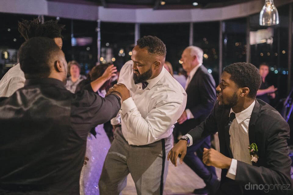 the groom showing his moves to the guests - Kimber & Julius' Warmsley Wedding