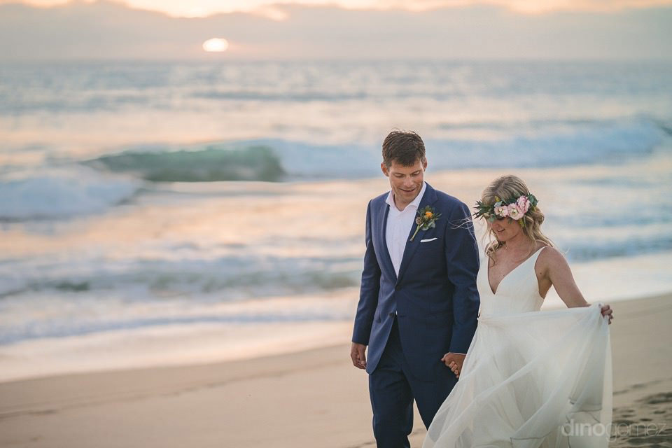 the sunset behind the newlyweds - Rachel & Destin