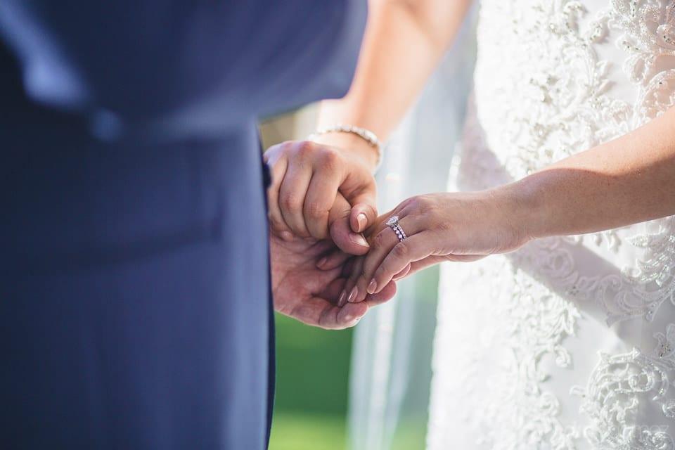 Bride And Groom Holding Each Other'S Hands After Exchanging Wonderful Wedding Rings With Each Other - Shannon & Jordan
