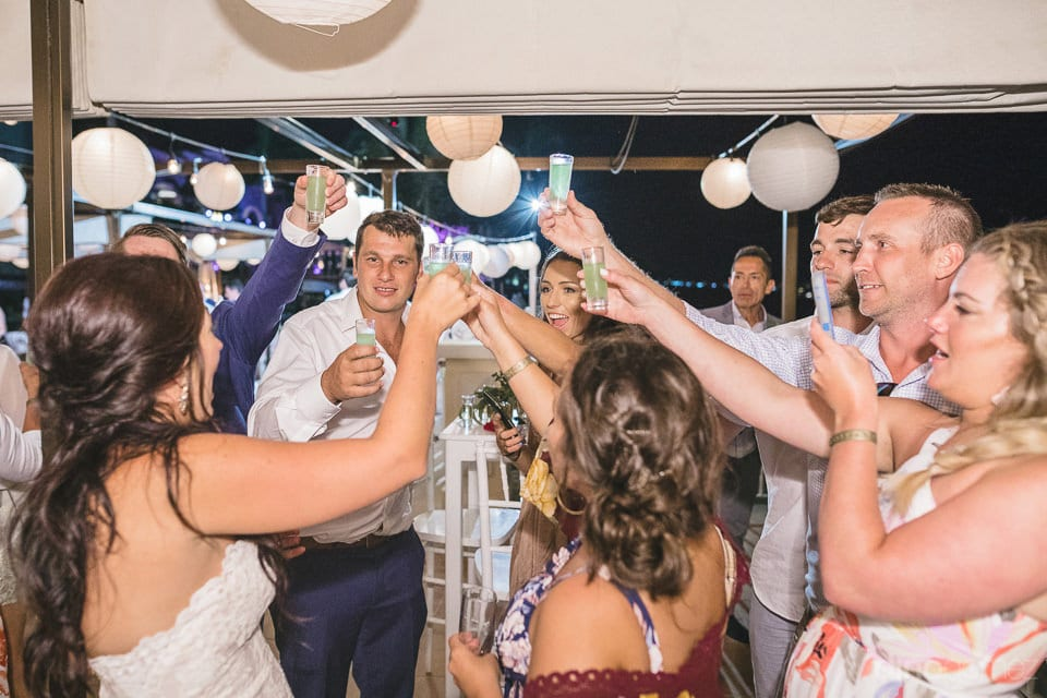 All the friends enjoying the evening dance with the bride and groom on their wedding day- Aubrey & Chris