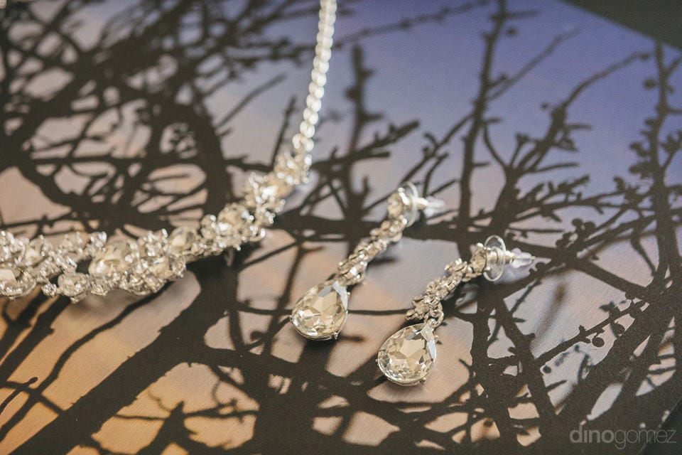 Amazing crystal jewellery for the wedding of Lindsay & Clark