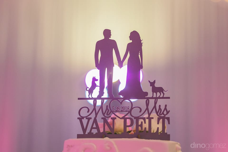 An attractive cake topper with the surname of the beautiful couple and two of their beloved dogs at the top of the cake - Shannon & Jordan