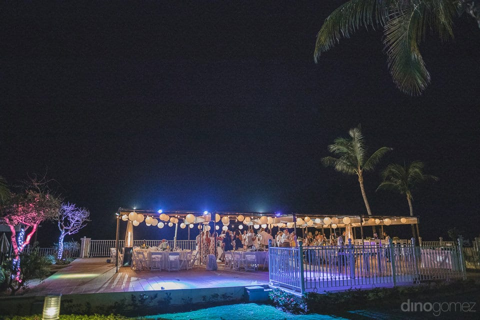 Beach side evening party venue under the LED lights of the lovely couple- Aubrey & Chris