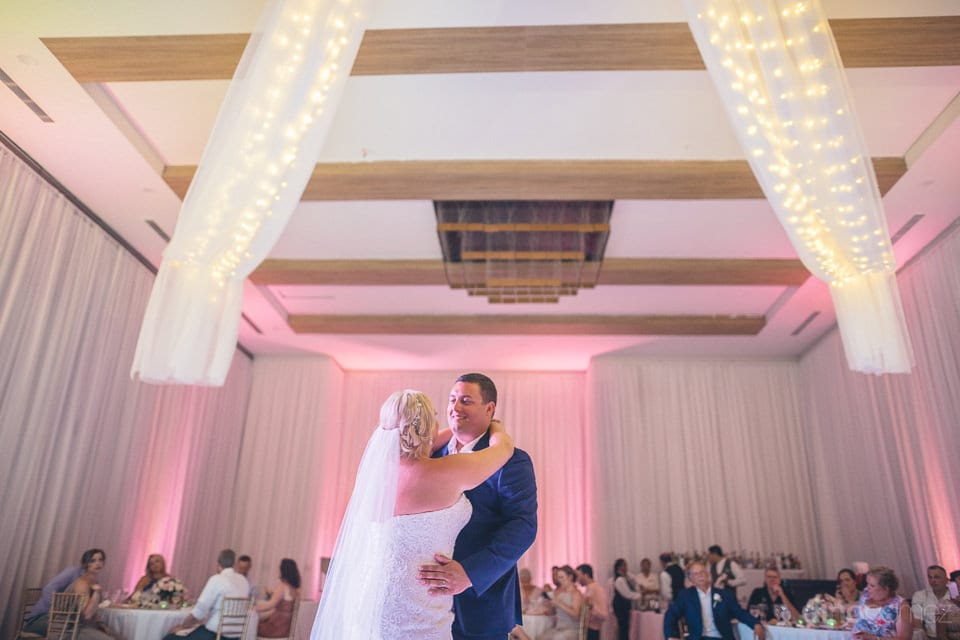 Lovely couple smiling and performing couple dance at their reception party in the evening -Shannon & Jordan