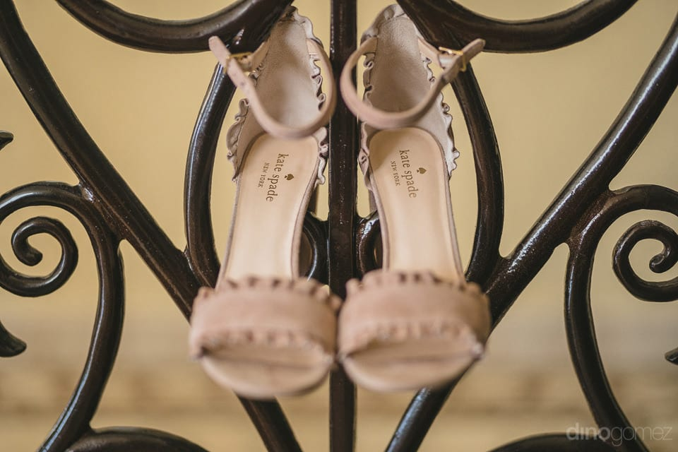 Bride's beige footwear by the famous designer Kate Spade for her Big Day- Aubrey & Chris