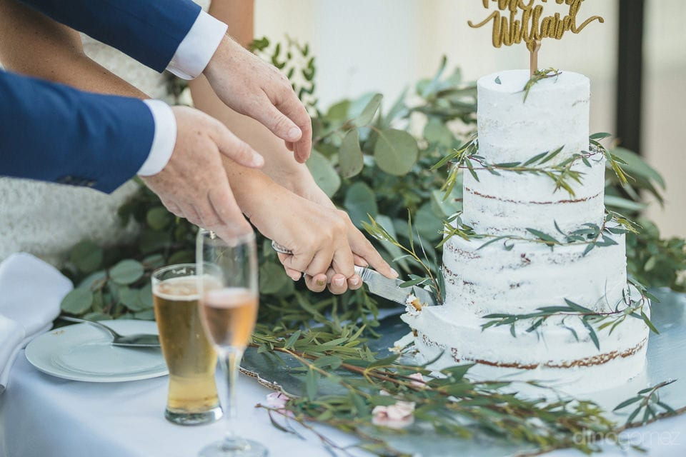 Couple cutting their wedding cake made in white color decorated with green leaves- Aubrey & Chris