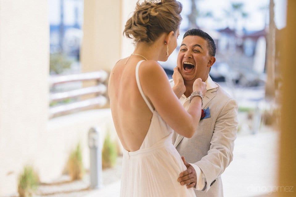 Happy moments just before wedding ceremony between Lindsay & Clark