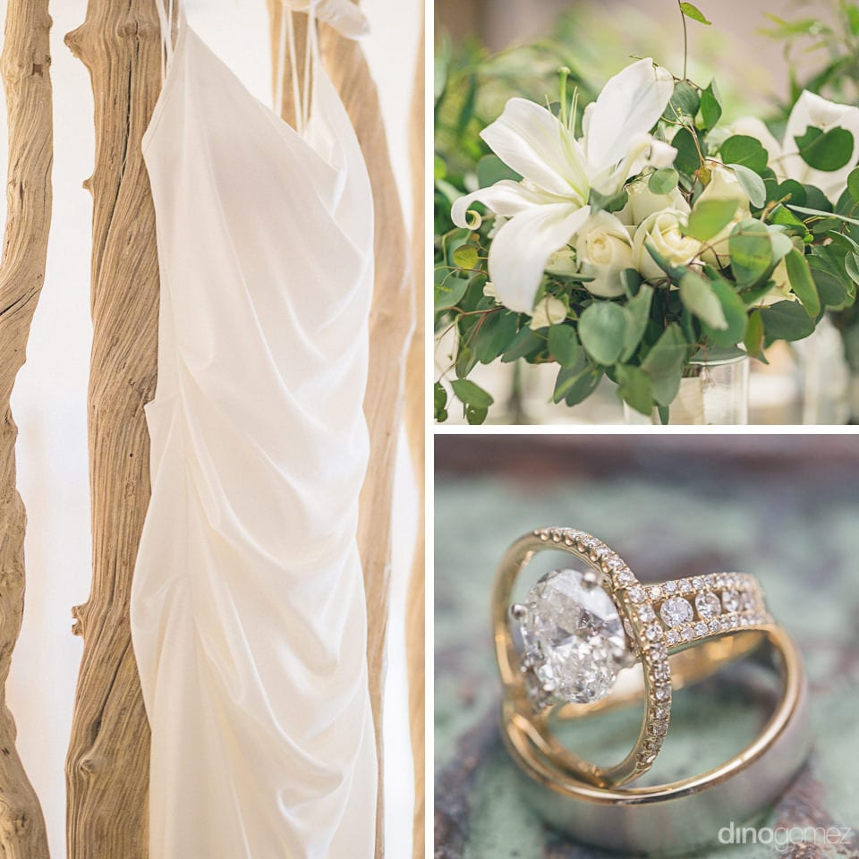 A collage of three pictures containing elegant white bridal gown, wedding bouquet & wedding rings can be seen- Amber & Josh