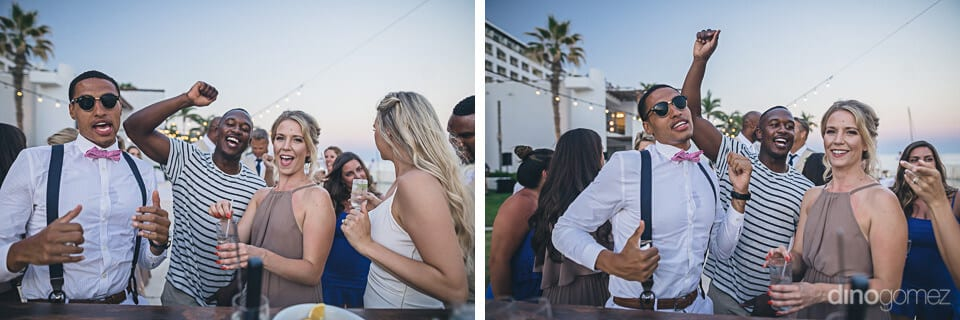 Wedding guests are enjoying drinks and dance with the lovely bride in this collage of pictures- Amber & Josh