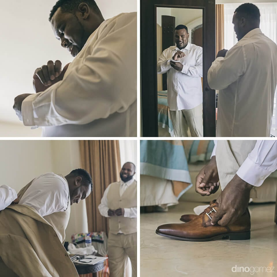 The groom can be seen buttoning his shirt, wearing shoes and getting ready in the collage of pictures- Amber & Josh
