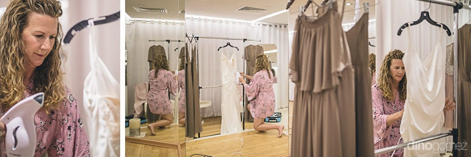 In this collage, a lady is standing inside the dressing room of the palace and can be seen looking at the wedding dress of the lovely bride and is even ironing the same- Amber & Josh
