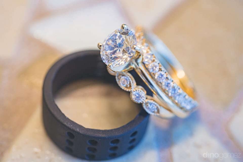 Amazing solitare wedding ring and band for the lovely bride- Heather & Ross