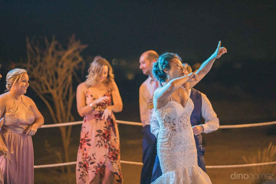 Lovely bride is dancing to the fullest on her reception party- Jay & Drew