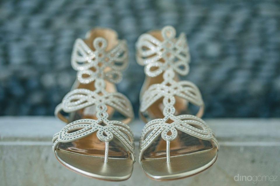 Beautiful crystal studedd wedding footwear of the bride to be- Jay & Drew