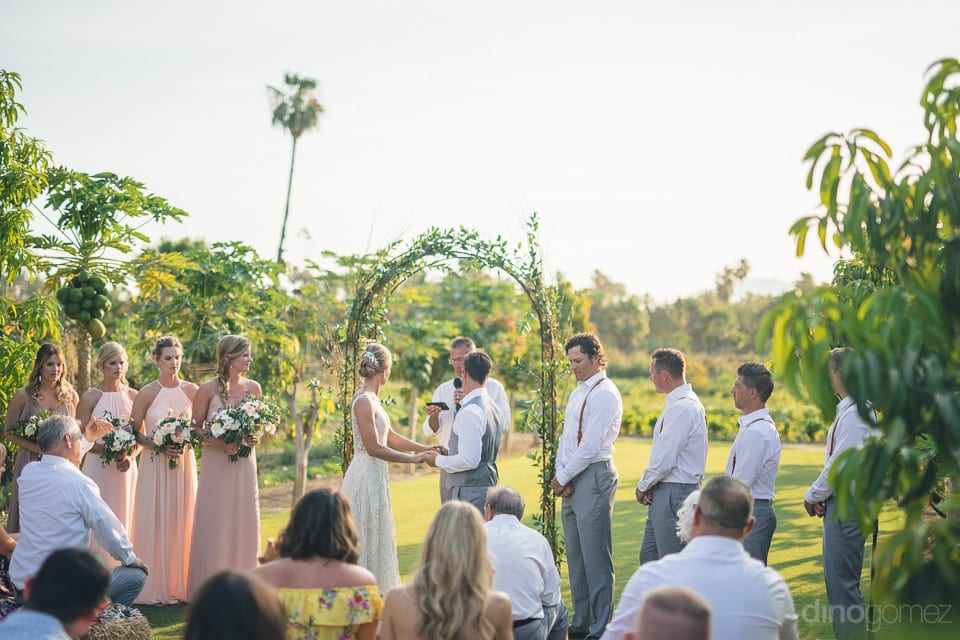 The picture captures the couple standing and holding each others hands while taking their wedding vows- Heather & Ross