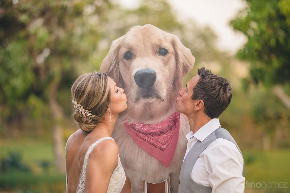 Lovely couple is kissing their beloved golden retriever's hoarding placed in the farm- Heather & Ross