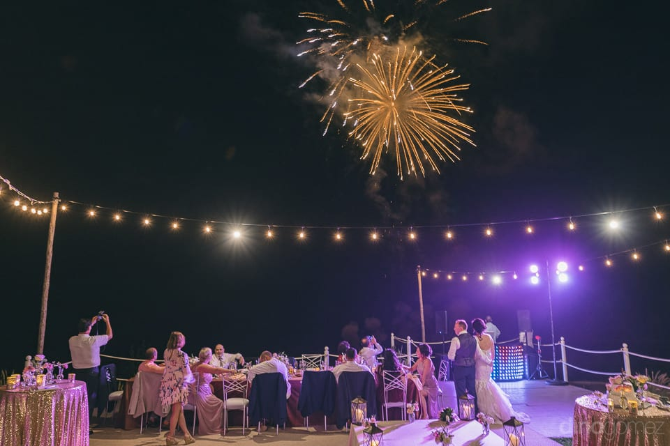 An amazing firework show is being displayed during the reception of the charming couple- Jay & Drew