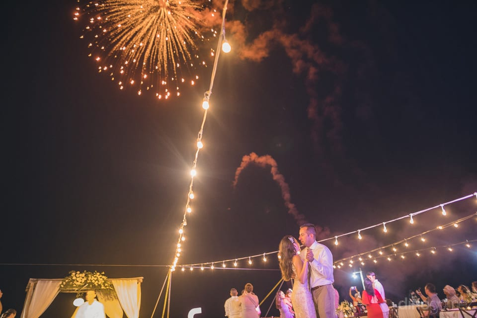 Picture captures the beautiful fire shots in the air during the reception party of the lovely couple- Christina & Steve