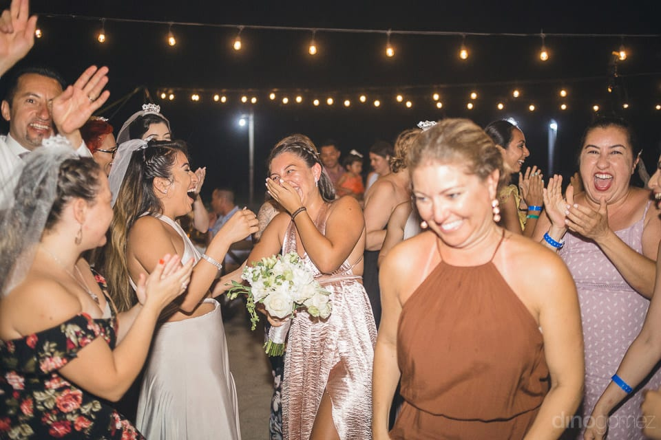 Picture captures the funny moment among the wedding guests during the reception dance- Christina & Steve