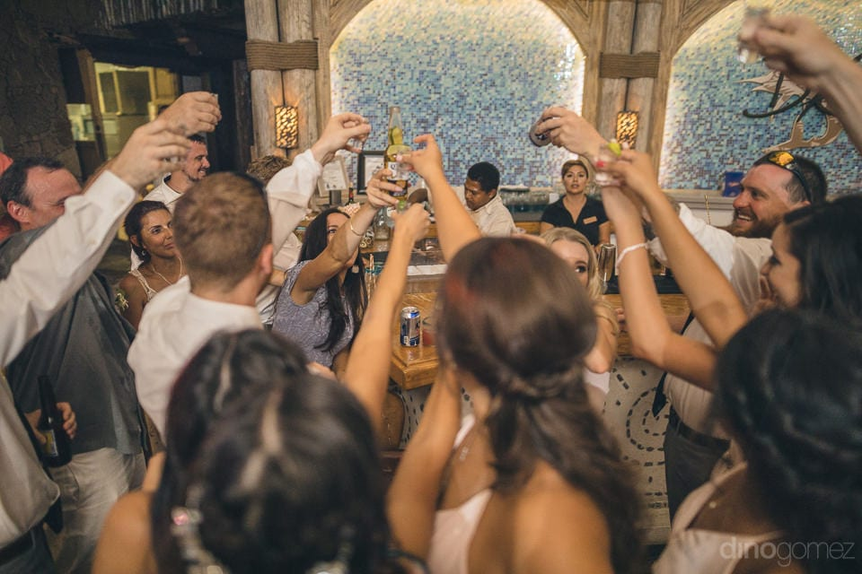 A fun-filled moment of the wedding guests raising toast to the newly married couple at the evening party- Nicole & Ryan
