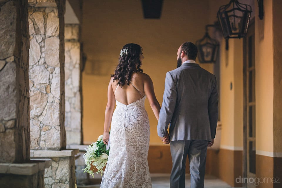 The back view of the lovely couple taking a walk in the corridor is captured in the picture- Nicole & Ryan