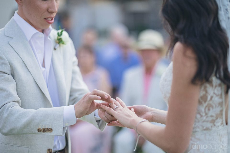 The Forever Moment Of The Couple Echanging The Wedding Ring Is Captured In The Picture- Christina & Steve