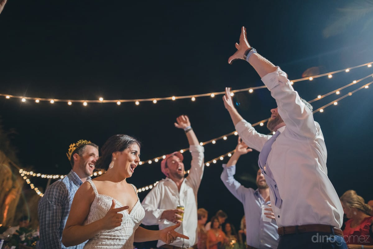Newly Married Couple Can Be Seen Enjoying The Reception Party To The Fullest By Dancing And Drinking With Their Friends- Kathleen & Kevin