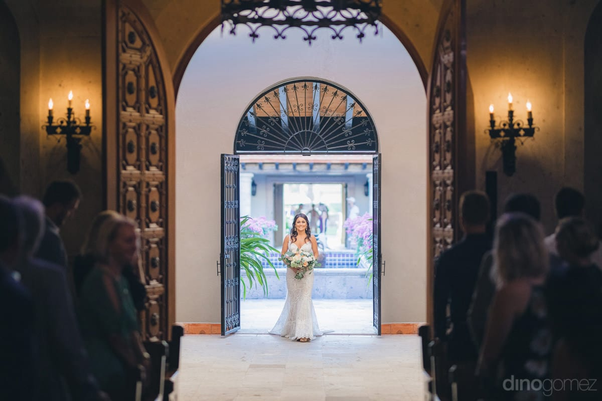 A Stunning Picture Of The Gorgeous Bride Entering The Wedding Hall Is Captured- Kathleen & Kevin