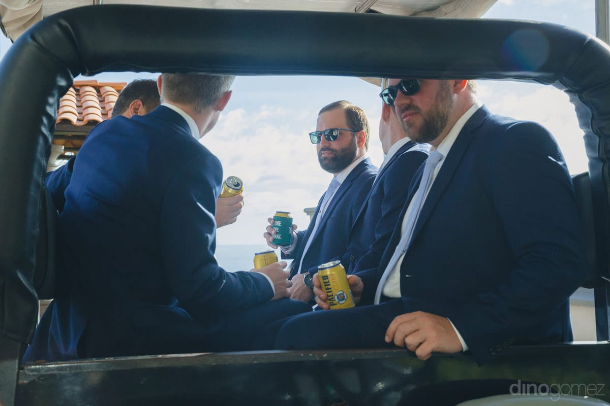 Handsome Groom And His Smart Friends Are Sitting In A Vehicle To Reach The Wedding Venue- Kathleen & Kevin