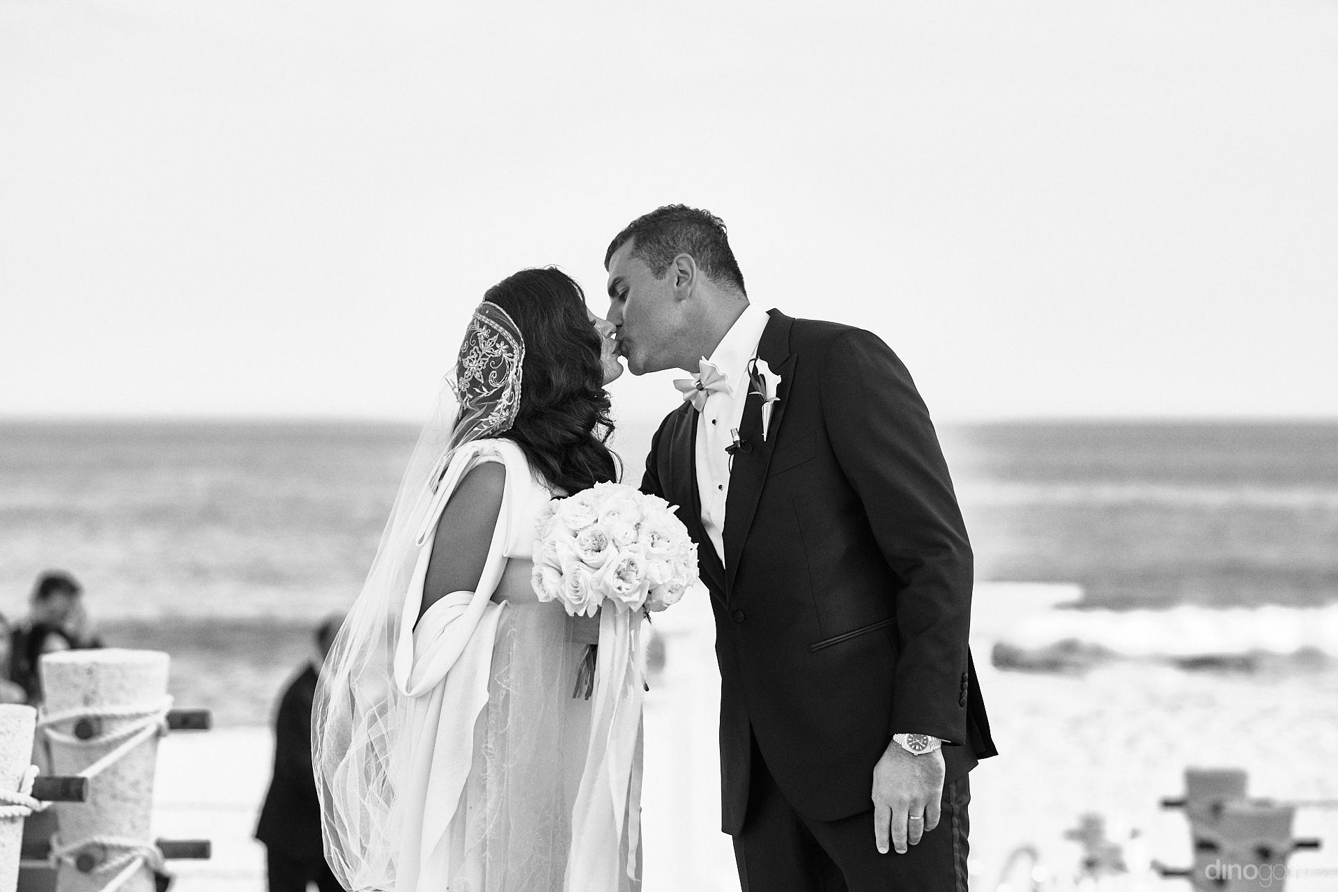 Beach Persian Wedding First Kiss