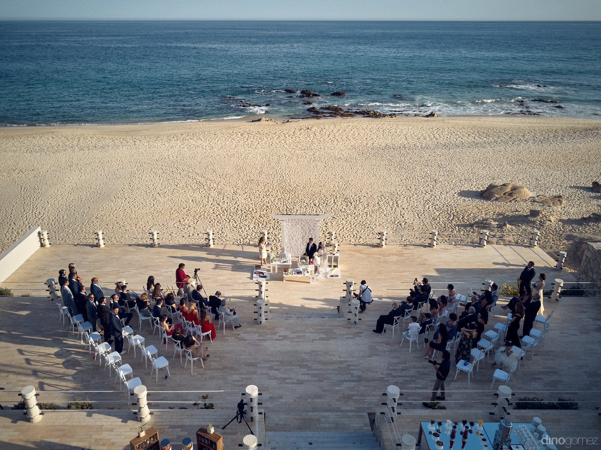 Drone Photo Of A Persian Wedding Ceremony On The Beach In Cabo